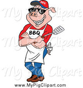 Swine Clipart of a Bbq Male Pig Chef Wearing an Apron Shades and Holding a Spatula by LaffToon