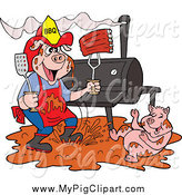 Swine Clipart of a Bbq Pig Firefighter with Ribs, Smoker and Puddle of Mud by LaffToon