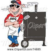 Swine Clipart of a Bbq Pig Standing Against a Smoker Outside by LaffToon