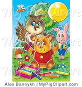 Swine Clipart of a Bee, Owl, Pig and Bear Coloring Together Outside by Alex Bannykh