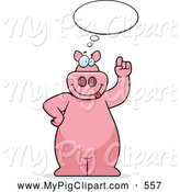 Swine Clipart of a Big Pink Pig Thinking by Cory Thoman