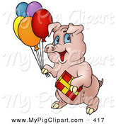 Swine Clipart of a Birthday Pig Carrying Balloons and a Present to a Party by Dero