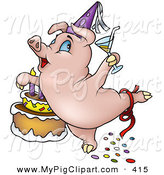 Swine Clipart of a Birthday Pig Dancing by a Frosted Cake by Dero