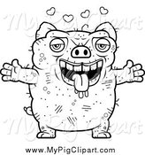 Swine Clipart of a Black and White Amorous Ugly Pig by Cory Thoman