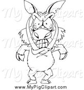 Swine Clipart of a Black and White Angry Boar Standing Upright by Dennis Holmes Designs