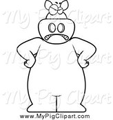 Swine Clipart of a Black and White Angry Pig with His Hands on His Hips by Cory Thoman