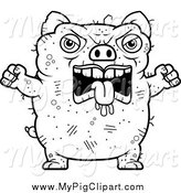 Swine Clipart of a Black and White Angry Ugly Pig by Cory Thoman