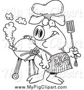 Swine Clipart of a Black and White Bbq Pig Wearing a Pig out Apron by Ron Leishman