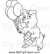 Swine Clipart of a Black and White Birthday Party Pig by Dero