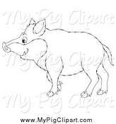 Swine Clipart of a Black and White Boar Profile by Alex Bannykh