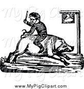 Swine Clipart of a Black and White Boy Riding a Pig Backwards by Prawny Vintage