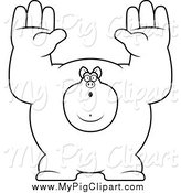 August 19th, 2014: Swine Clipart of a Black and White Buff Pig Giving up by Cory Thoman
