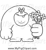 Swine Clipart of a Black and White Buff Pig Holding Flowers by Cory Thoman