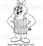Swine Clipart of a Black and White Butcher Pig Wearing an Apron by Dennis Holmes Designs