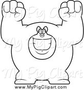 Swine Clipart of a Black and White Cheering Buff Pig by Cory Thoman