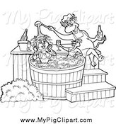 Swine Clipart of a Black and White Chef Bull Pouring Bbq Sauce on a Female Pig and Chicken in a Hot Tub by LaffToon