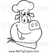 Swine Clipart of a Black and White Chef Pig Face Wearing a Hat by Hit Toon