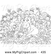 Swine Clipart of a Black and White Coloring Page of a Pig and Donkey Coloring Page Outline by Alex Bannykh