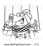 Swine Clipart of a Black and White Comedian Pig on Stage by Toonaday