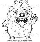 Swine Clipart of a Black and White Confused Ugly Pig by Cory Thoman