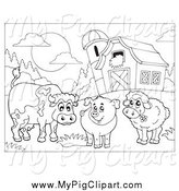 Swine Clipart of a Black and White Cow, Pig and Sheep by a Barn by Visekart