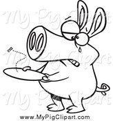 February 9th, 2015: Swine Clipart of a Black and White Crying Pig with an Empty Plate by Toonaday