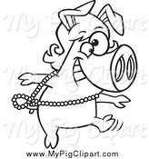 Swine Clipart of a Black and White Dancing Pig in a Wig by Toonaday