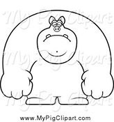 Swine Clipart of a Black and White Depressed Buff Pig by Cory Thoman