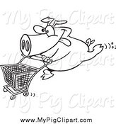 Swine Clipart of a Black and White Energetic Pig Pushing a Shopping Cart by Ron Leishman