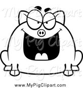 Swine Clipart of a Black and White Evil Chubby Pig by Cory Thoman