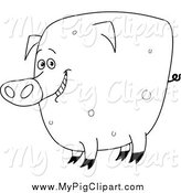 Swine Clipart of a Black and White Fat Happy Pig by Yayayoyo