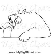 Swine Clipart of a Black and White Fat Pig Shoving Food into His Mouth by Djart