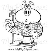 Swine Clipart of a Black and White Female Heavy Pig Eating a Donut on the Scale by Toonaday