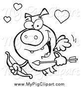 Swine Clipart of a Black and White Flying Cupid Piggy by Hit Toon