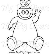 Swine Clipart of a Black and White Goofy Pig Sitting and Waving by Cory Thoman
