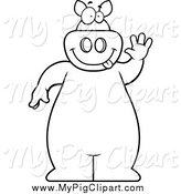 Swine Clipart of a Black and White Goofy Pig Standing and Waving by Cory Thoman