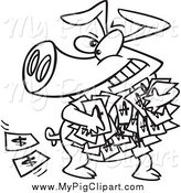 Swine Clipart of a Black and White Greedy Pig with Money by Toonaday
