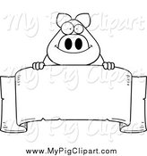 Swine Clipart of a Black and White Happy Chubby Pig over a Banner by Cory Thoman