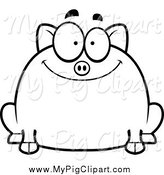 Swine Clipart of a Black and White Happy Chubby Smiling Pig by Cory Thoman