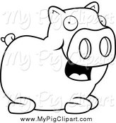 Swine Clipart of a Black and White Happy Pig by Cory Thoman
