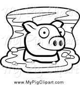 Swine Clipart of a Black and White Happy Pig in Mud by Cory Thoman