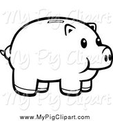 January 30th, 2014: Swine Clipart of a Black and White Happy Piggy Bank by Cory Thoman
