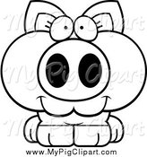 Swine Clipart of a Black and White Happy Piglet by Cory Thoman