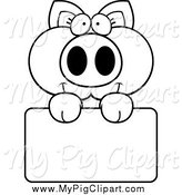 Swine Clipart of a Black and White Happy Piglet Holding a Sign by Cory Thoman