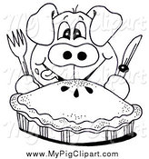 Swine Clipart of a Black and White Hungry Pig and Pie by LoopyLand