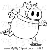 Swine Clipart of a Black and White Lineart Chubby Pig Ice Skating by Cory Thoman