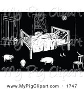 May 24th, 2016: Swine Clipart of a Black and White Man Sleeping with Pigs in His Room by Prawny Vintage