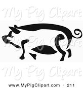 Swine Clipart of a Black and White Paintbrush Stroke Styled Pig Facing LeftBlack and White Paintbrush Stroke Styled Pig Facing Left by Prawny