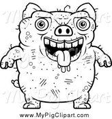 Swine Clipart of a Black and White Panting Ugly Pig by Cory Thoman