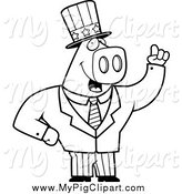 Swine Clipart of a Black and White Patriotic Pig Holding up a Finger by Cory Thoman